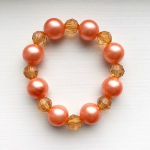 Orange / salmon & amber beaded elastic bracelet